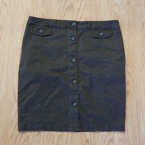 Green button up skirt
